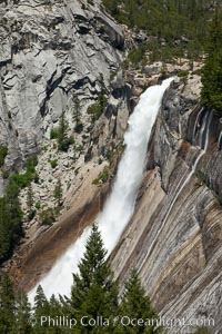 Nevada Falls viewed from the John Muir Trail, Merced River in peak spring flow from heavy snow melt in the high country above Yosemite Valley. Yosemite National Park, California, USA, natural history stock photograph, photo id 26874