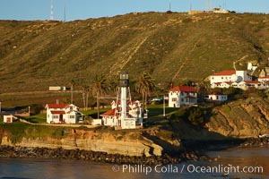 "New Point Loma Lighthouse, situated on the tip of Point Loma Peninsula, marks the entrance to San Diego Bay.  The lighthouse rises 70' and was built in 1891 to replace the ""old""  Point Loma Lighthouse which was often shrouded in fog"