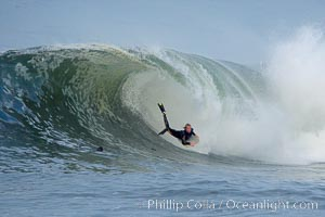 Foamy barrel.  The Wedge, Newport Beach, California