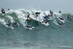 A crowd.  The Wedge, Newport Beach, California