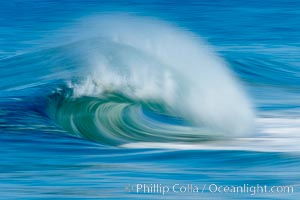 Breaking wave, fast motion and blur. The Wedge, Newport Beach, California