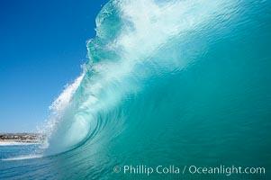 Wave breaking, tube, Newport Beach