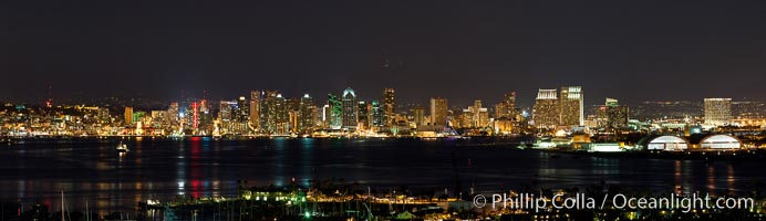 City lights of downtown San Diego surround the San Diego bay