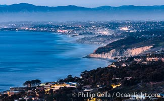 North County Coastline at Dusk, viewed from Mount Soledad, La Jolla, California