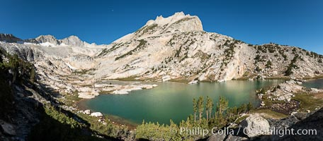 North Peak (12,242') over Conness Lake, water colored by glacier runoff, Hoover Wilderness, Conness Lakes Basin