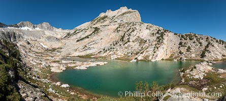 North Peak (12,242') rises over lower Conness Lake, its water colored deep blue-green by glacier runoff.  Mount Conness (12,589') towers in the upper left.  Hoover Wilderness, Inyo National Forest, Conness Lakes Basin