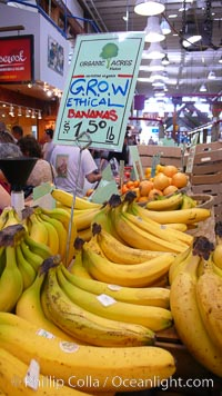Not just any bananas, these are ETHICAL bananas at the Public Market, Granville Island, Vancouver