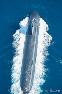 Nuclear submarine at the surface of the ocean, aerial photo, San Diego, California