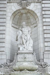 Statue at entrance to New York City Public Library, Manhattan