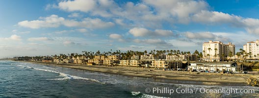 Oceanside beach at sunset viewed from Oceanside Pier. California, USA, natural history stock photograph, photo id 29123