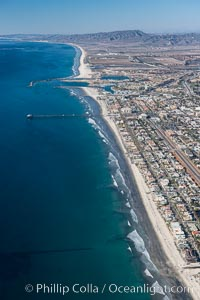 Coastal Oceanside, including Oceanside Pier and Oceanside Harbor, view toward the north showing Camp Pendleton in the distance, aerial photo. Oceanside, California, USA, natural history stock photograph, photo id 29074