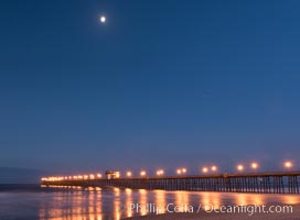 Full Moon over Oceanside Pier at Dawn