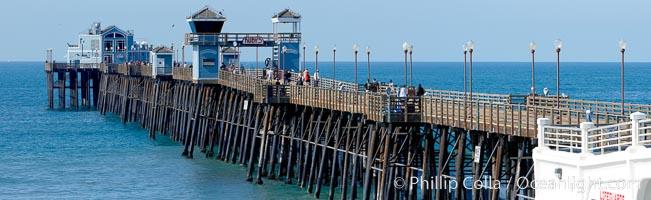 Oceanside Pier panorama. California, USA, natural history stock photograph, photo id 19529