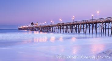 Oceanside Pier at sunrise, dawn, morning. California, USA, natural history stock photograph, photo id 27228