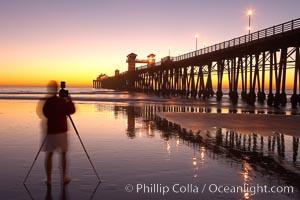 Oceanside Pier at dusk, sunset, night.  Oceanside. California, USA, natural history stock photograph, photo id 14630