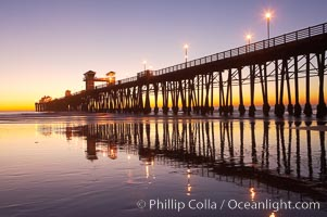 Oceanside Pier at dusk, sunset, night.  Oceanside. Oceanside Pier, Oceanside, California, USA, natural history stock photograph, photo id 14631