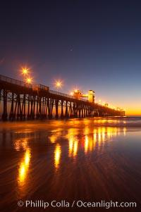 Oceanside Pier at dusk, sunset, night.  Oceanside. California, USA, natural history stock photograph, photo id 14632