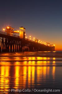 Oceanside Pier at dusk, sunset, night.  Oceanside. California, USA, natural history stock photograph, photo id 14633