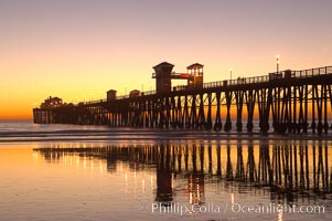 Oceanside Pier at dusk, sunset, night.  Oceanside. California, USA, natural history stock photograph, photo id 14637