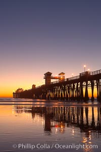 Oceanside Pier at dusk, sunset, night.  Oceanside. California, USA, natural history stock photograph, photo id 14638