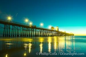 Oceanside Pier at dusk, sunset, night.  Oceanside. California, USA, natural history stock photograph, photo id 14639