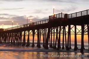 Oceanside Pier at dusk, sunset, night. California, USA, natural history stock photograph, photo id 14801