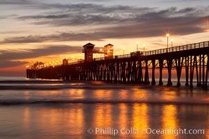Oceanside Pier at dusk, sunset, night. California, USA, natural history stock photograph, photo id 14806