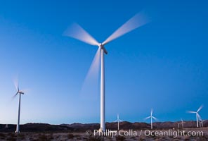Ocotillo Express Wind Energy Projects, moving turbines lit by the rising sun, Ocotillo, California, USA, natural history stock photograph, photo id 30249