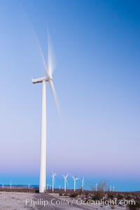 Ocotillo Express Wind Energy Projects, moving turbines lit by the rising sun, Ocotillo, California, USA, natural history stock photograph, photo id 30251