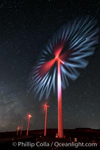 Ocotillo Wind Energy Turbines, at night with stars and the Milky Way in the sky above, the moving turbine blades illuminated by a small flashlight. California, USA, natural history stock photograph, photo id 30232