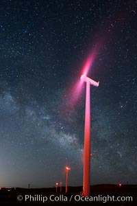 Ocotillo Wind Energy Turbines, at night with stars and the Milky Way in the sky above, the moving turbine blades illuminated by a small flashlight. Ocotillo, California, USA, natural history stock photograph, photo id 30238
