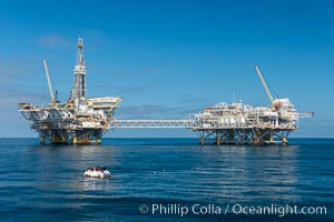 Oil platforms Ellen (left) and Elly (right) lie in 260' of seawater 8.5 miles off Long Beach, California