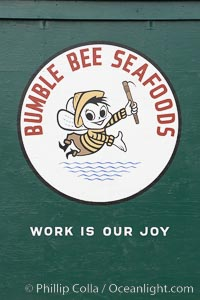 Old Bumblebee Tuna cannery logo, Pier 39. Astoria, Oregon, USA, natural history stock photograph, photo id 19379