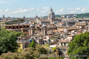 Old Rome viewed from the Borghese Gardens, Rome. Italy, natural history stock photograph, photo id 35575