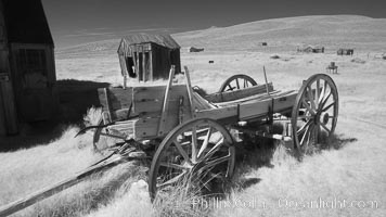 Image 23313, Old wagon wasting away., Phillip Colla, all rights reserved worldwide.   Keywords: arrested decay:bodie:bodie ghost town:bodie state historic park:bodie state historical park:bridgeport:california:eastern sierra:ghost town:gold mine:gold mining:gold rush:historic state park:infrared:infrared photography:mining camp:mining town:old west:outdoors:outside:sierra:state park:state parks:town:usa:village:west.