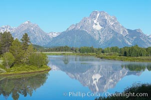 Mount Moran rises above the Snake River at Oxbow Bend. Oxbow Bend, Grand Teton National Park, Wyoming, USA, natural history stock photograph, photo id 13029