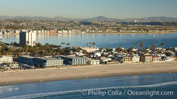 Pacific Beach, oceanfront homes and apartments, with Mission Bay behind, San Diego, California