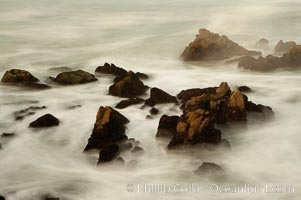 Waves breaking over rocks appear as a foggy mist in this time exposure.  Pacific Grove. Lovers Point, California, USA, natural history stock photograph, photo id 14908