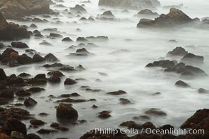 Waves breaking over rocks appear as a foggy mist in this time exposure.  Pacific Grove. Lovers Point, Pacific Grove, California, USA, natural history stock photograph, photo id 14910