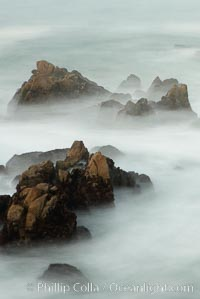Waves breaking over rocks appear as a foggy mist in this time exposure.  Pacific Grove. Lovers Point, Pacific Grove, California, USA, natural history stock photograph, photo id 14911