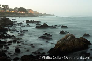 Waves breaking over rocks appear as a foggy mist in this time exposure.  Pacific Grove. Lovers Point, Pacific Grove, California, USA, natural history stock photograph, photo id 14913