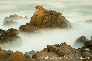 Waves breaking over rocks appear as a foggy mist in this time exposure.  Pacific Grove. Lovers Point, California, USA, natural history stock photograph, photo id 14914