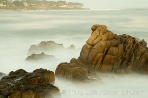 Image 14915, Waves breaking over rocks appear as a foggy mist in this time exposure.  Pacific Grove. Lovers Point, Pacific Grove, California, USA, Phillip Colla, all rights reserved worldwide.   Keywords: california:environment:landscape:lovers point:nature:ocean:outdoors:outside:pacific grove:scene:scenery:scenic:seascape:usa:water.