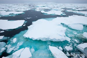 Pack ice, a combination of sea ice and pieces of icebergs, Weddell Sea