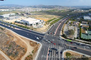 Palomar Airport Road and El Camino Real, intersection, aerial view, Carlsbad, California