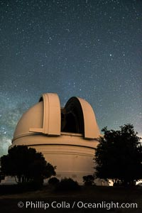 Palomar Observatory at night, under a sky of stars. Palomar Mountain, California, USA, natural history stock photograph, photo id 29338