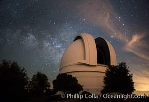Palomar Observatory at Night under the Milky Way, Panoramic photograph. Palomar Mountain, California, USA, natural history stock photograph, photo id 29339