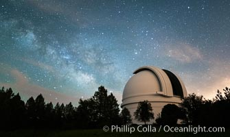 Image 29340, Palomar Observatory at Night under the Milky Way, Panoramic photograph. Palomar Observatory, Palomar Mountain, California, USA