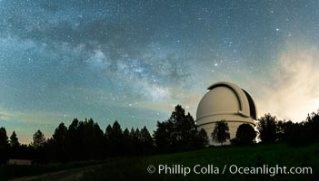 Image 29342, Palomar Observatory at Night under the Milky Way, Panoramic photograph. Palomar Observatory, Palomar Mountain, California, USA