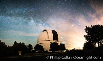 Palomar Observatory at Night under the Milky Way, Panoramic photograph, Palomar Mountain, California